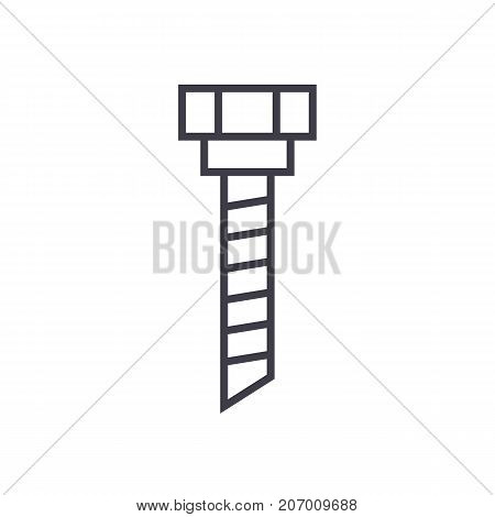 drilling machine sign vector line icon, sign, illustration on white background, editable strokes