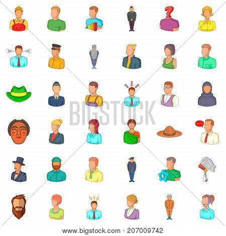 Occupation icons set. Cartoon style of 36 occupation vector icons for web isolated on white background