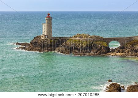 Lighthouse of Petit Minou at the Atlantic Ocean near Plouzane, Brittany, France