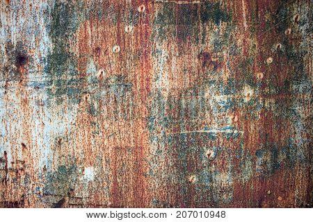 Texture Rustic Iron, Peeling Paint On Rusty Metal