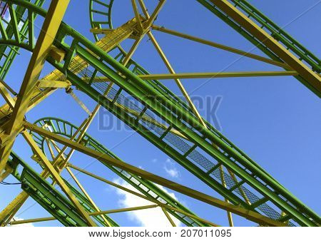 Close up of a roller coaster in a fairground