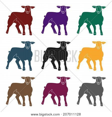 Little white mountain sheep.Scottish fold sheep.Scotland single icon in black style vector symbol stock  illustration.