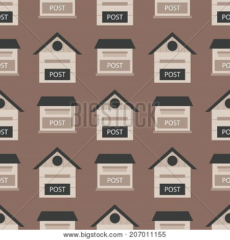 Beautiful rural curbside seamless pattern mailboxes with semaphore flag postbox vector illustration. Traditional communication empty postage post mail box. Letter message service correspondence.
