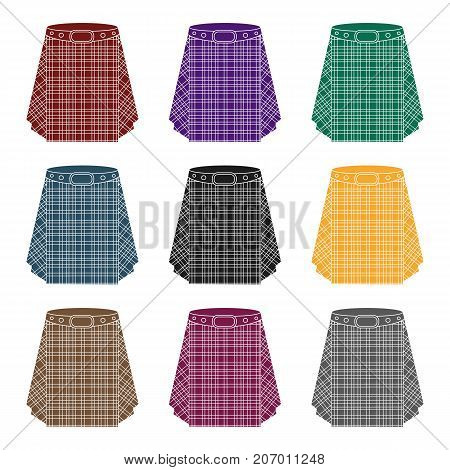 Scottish tartan kilt.The men's skirt for the Scots.Scotland single icon in black style vector symbol stock  illustration.