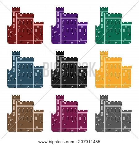 Concrete castle with peaks in Scotland.Fortification of the ancient Scots.Scotland single icon in black style vector symbol stock  illustration.