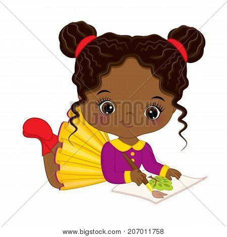 Vector cute little African American artist painting. Vector cute little African American girl. Little artist vector illustration