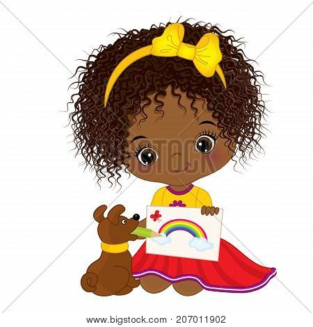 Vector cute little African American artist holding a picture. Vector little African American girl drawing. Little artist vector illustration