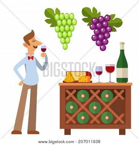 Focused young male sommelier in suit looking at red wine in glass over white background. Professional expertise store caucasian expert vector.