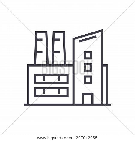 factory, industrial plant vector line icon, sign, illustration on white background, editable strokes