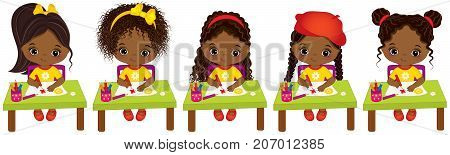 Vector cute little African American girls with various hair styles. Vector little African American artists drawing. Little artists vector illustration