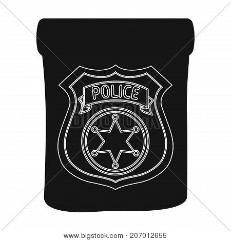 A badge, a police badge. Detective and police single icon in black style vector symbol stock illustration .