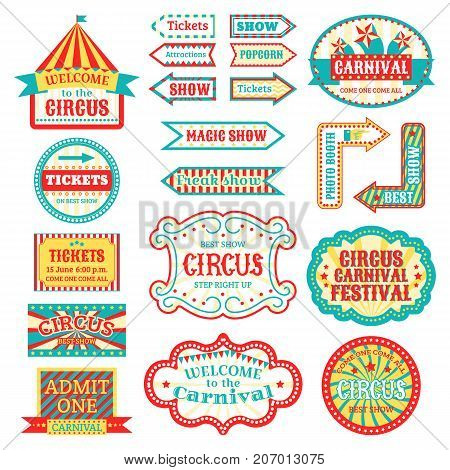 Circus vintage signboard labels banner vector illustration isolated on white