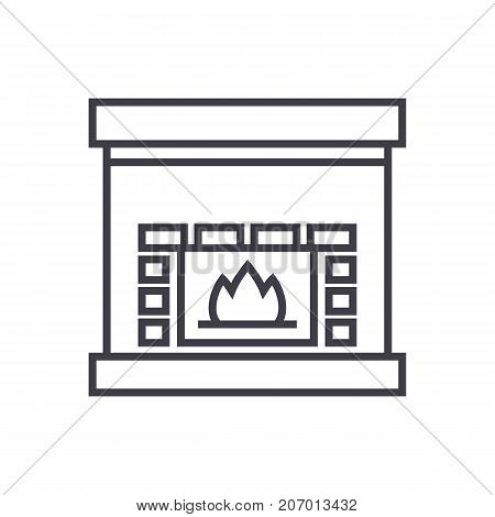 fireplace, hearth vector line icon, sign, illustration on white background, editable strokes