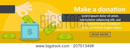 Make a donation banner horizontal concept. Flat illustration of make a donation banner horizontal vector concept for web design