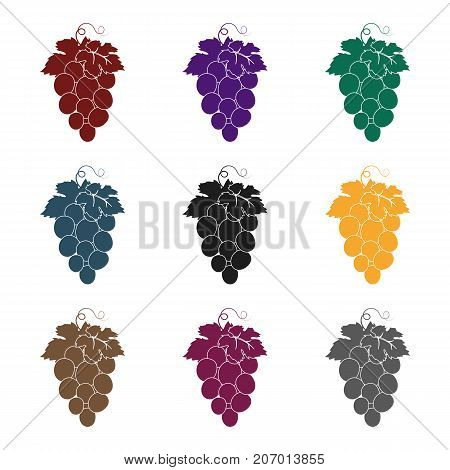 Bunch of wine grapes icon in black design isolated on white background. Spain country symbol stock vector illustration.