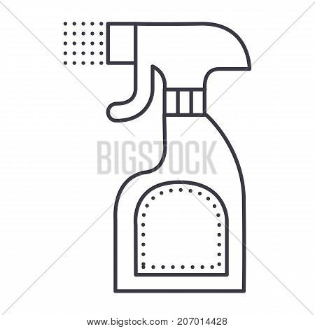 foggy spray bottle vector line icon, sign, illustration on white background, editable strokes
