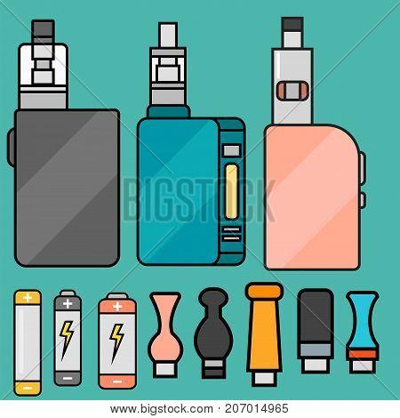 Vape device vector set. cigarette vaporizer, vapor juice, vape bottle, flavor illustration battery coil. Trend new culture electronic nicotine liquid. Smoking atomizer device e-liquid.