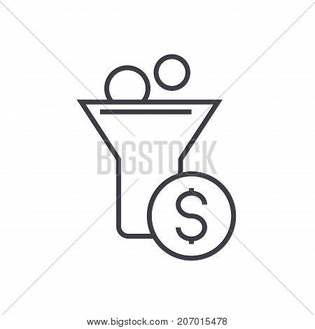 funnel profit, marketing conversion vector line icon, sign, illustration on white background, editable strokes