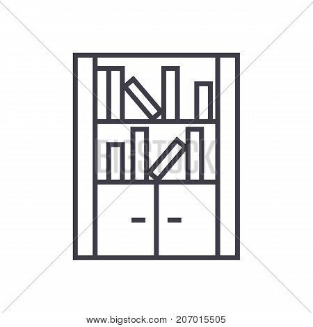 furniture library, bookcase vector line icon, sign, illustration on white background, editable strokes
