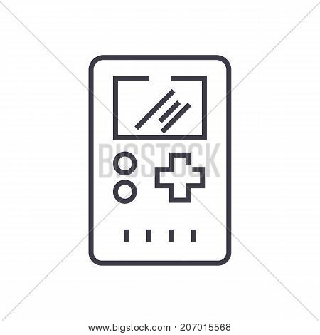 game console symbol vector line icon, sign, illustration on white background, editable strokes
