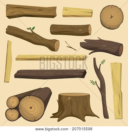 Stacked wood pine timber for construction buildings. Cut lumber wood materials logs vector set. Natural forest stack pile wood materials logs rough bark pattern abstract construction. poster