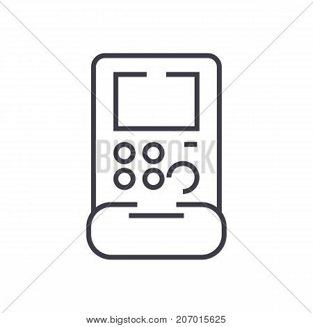 gamepad sign vector line icon, sign, illustration on white background, editable strokes
