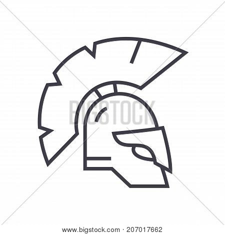 greece helmet vector line icon, sign, illustration on white background, editable strokes