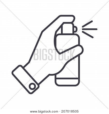 hand with spray vector line icon, sign, illustration on white background, editable strokes