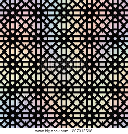 Black pattern on a holographic background for New Year's decor of congratulations