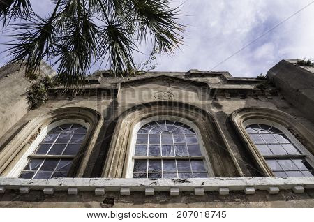 looking up at the German fire company building in Charleston South Carolina