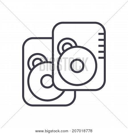 hard disk vector line icon, sign, illustration on white background, editable strokes