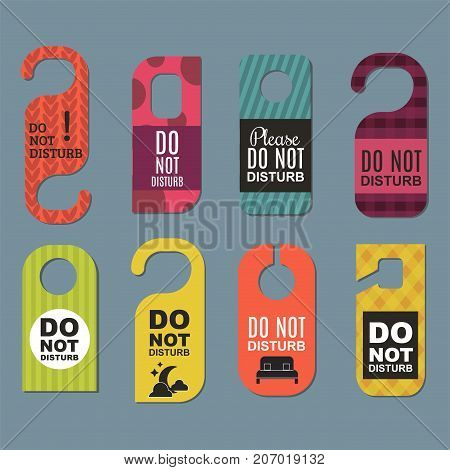 Please do not disturb hotel design. Motel service room privacy concept. Vector card hang message vacation hanger.
