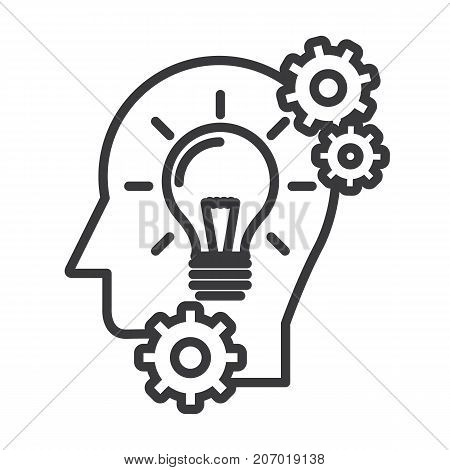 head with lamp, idea generation vector line icon, sign, illustration on white background, editable strokes