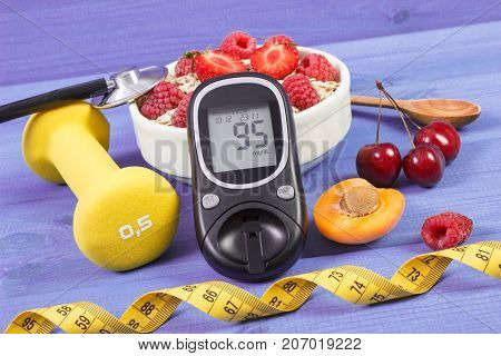 Glucose Meter, Oat Flakes With Fruits, Dumbbells And Tape Measure, Concept Of Diabetes, Slimming And