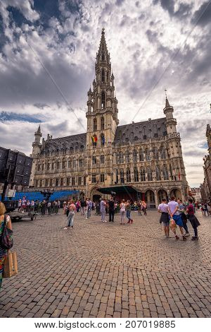 Brussels City Hall and Brussels City Museum on the famous Grand Place in Brussels, Belgium, on July 07, 2017.