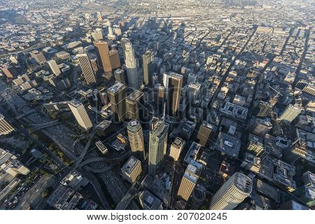 Los Angeles, California, USA - August 7, 2017:  Aerial view of streets and towers in downtown LA.