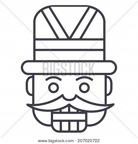 nutcracker, toy soldier vector line icon, sign, illustration on white background, editable strokes