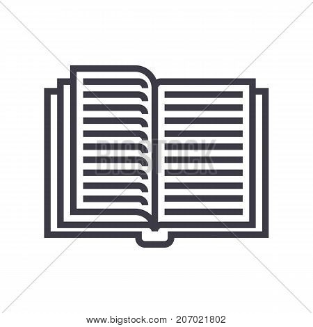 opened textbook vector line icon, sign, illustration on white background, editable strokes