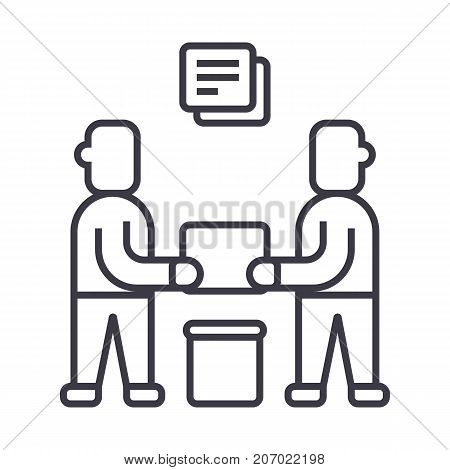 partnership, contract signing vector line icon, sign, illustration on white background, editable strokes