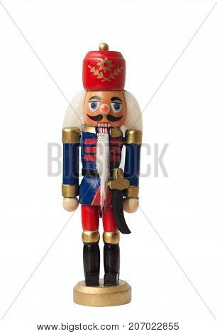 Christmas nutcracker toy soldier traditional figurine Isolated on white background
