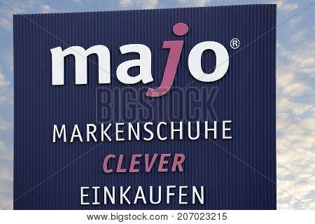 LINDEN GERMANY JULY 2017: MAJO Markenschuhe CLEVER (Shoe Center) store. MAJO Markenschuhe CLEVER based in Eschborn Hessen Germany