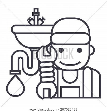 plumbing service vector line icon, sign, illustration on white background, editable strokes