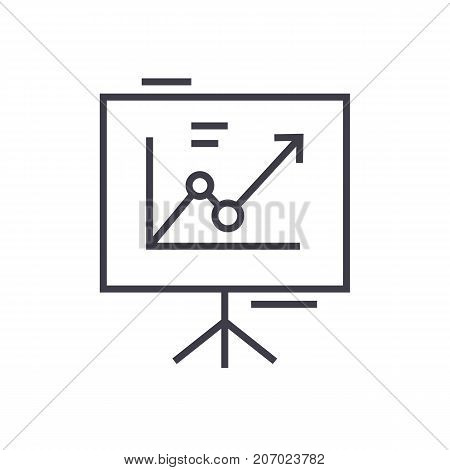 presentation board, flip chart vector line icon, sign, illustration on white background, editable strokes