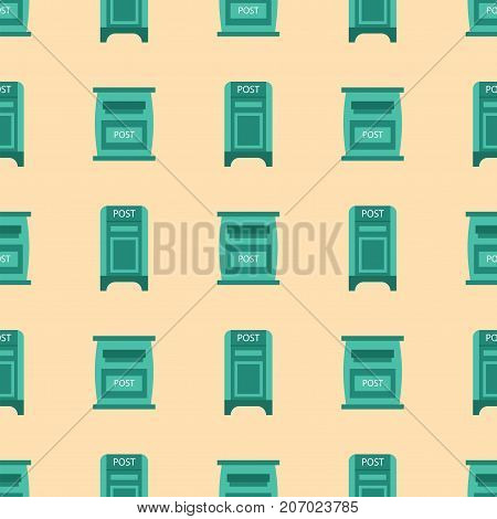 Beautiful rural curbside seamless pattern mailboxes vector illustration.