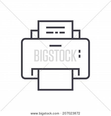 printer vector line icon, sign, illustration on white background, editable strokes