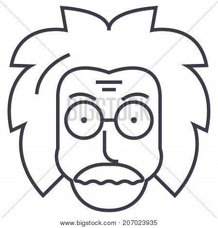 professor, einstein, scientist, freak vector line icon, sign, illustration on white background editable strokes