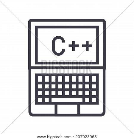programming, coding, c plus vector line icon, sign, illustration on white background, editable strokes