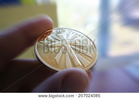 Golden Jesus Christ Coin In Hand High Quality