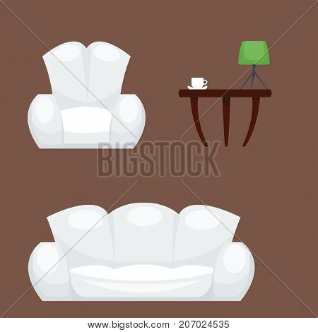 Exclusive sitting furniture design bedroom with couch mattress and interior room comfortable sofa home relaxation apartment decor vector illustration. Luxury night bedding sleep hammock.