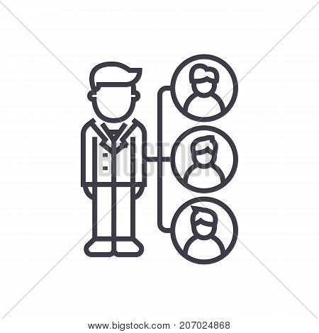 referrals, affilate marketing vector line icon, sign, illustration on white background, editable strokes